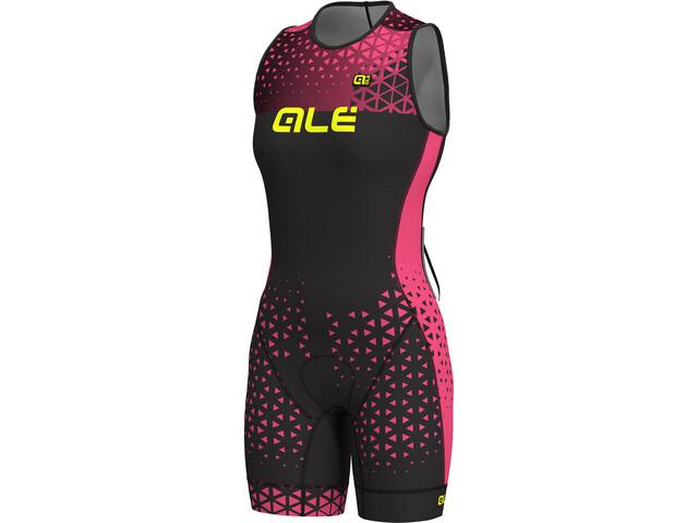 Alé Cycling Triathlon Rush Olympic Traje Triatlón sin mangas Mujer, black flou pink